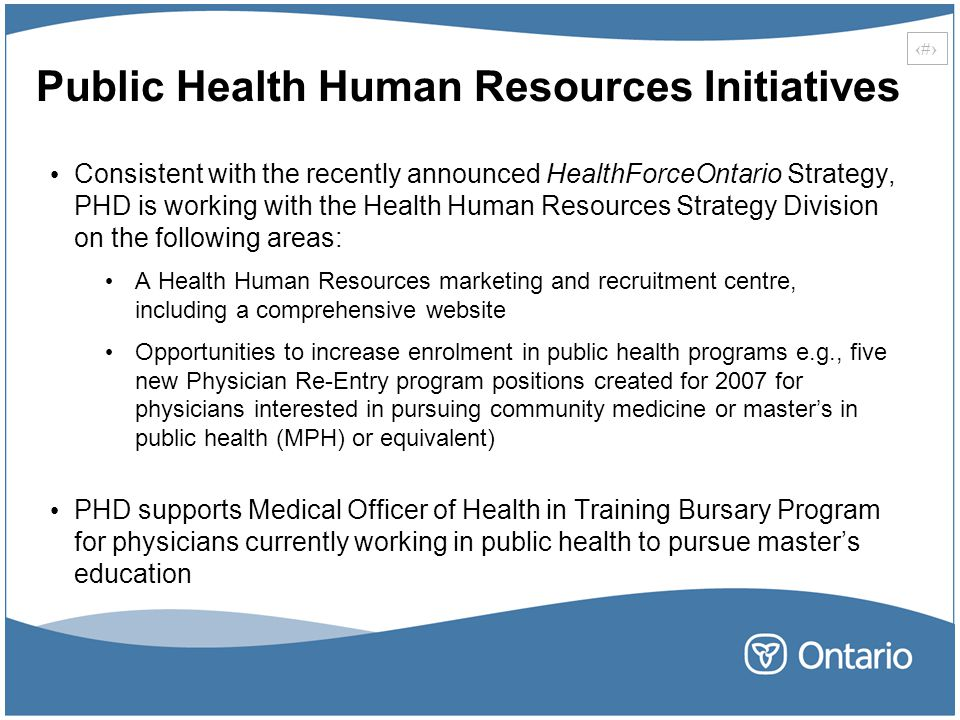 Public Health Human Resources Initiatives