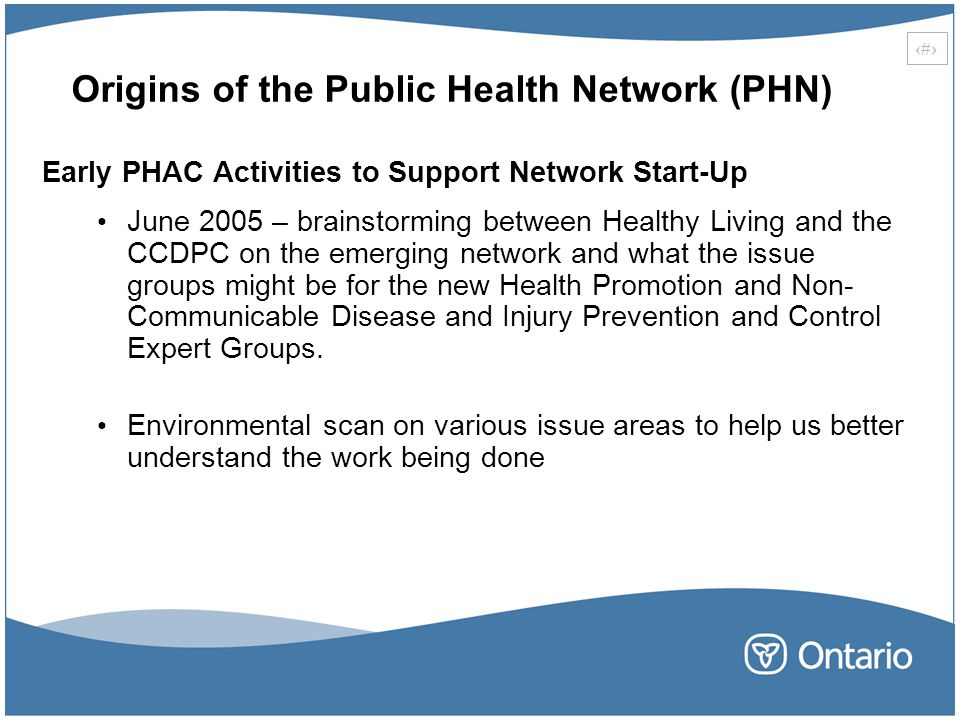 Origins of the Public Health Network (PHN)