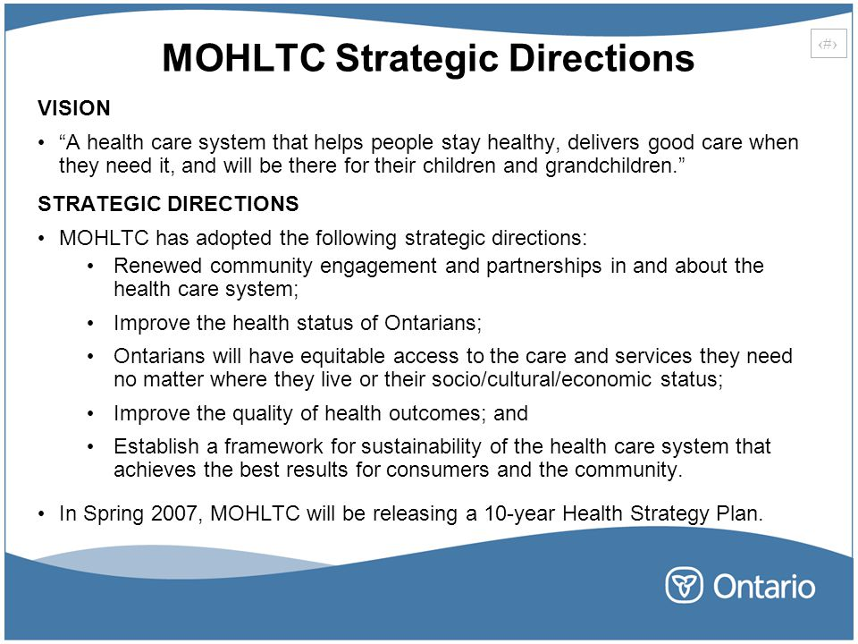 MOHLTC Strategic Directions