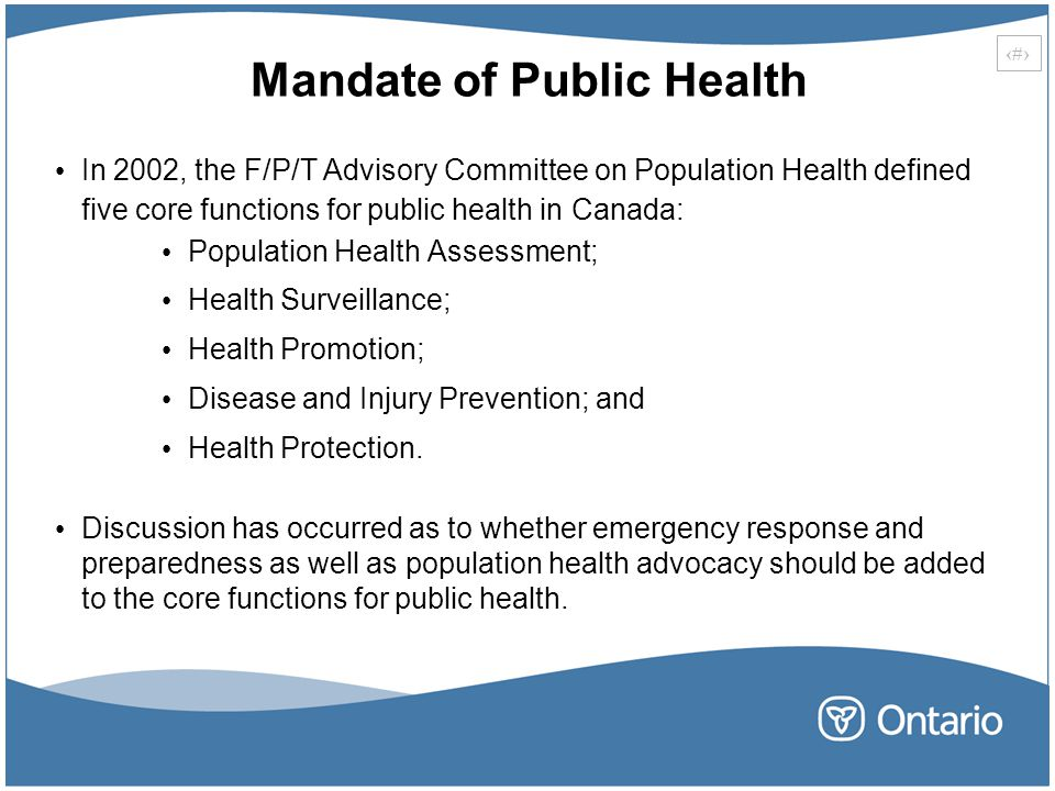 Mandate of Public Health