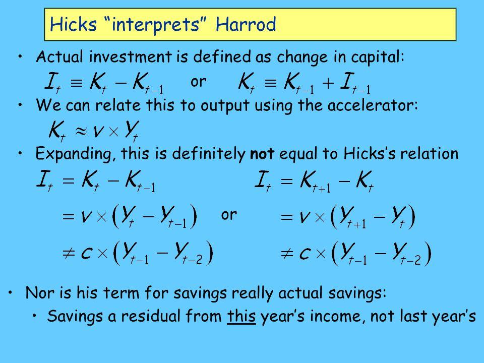 Hicks interprets Harrod
