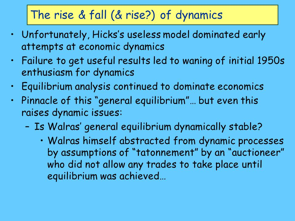 The rise & fall (& rise ) of dynamics