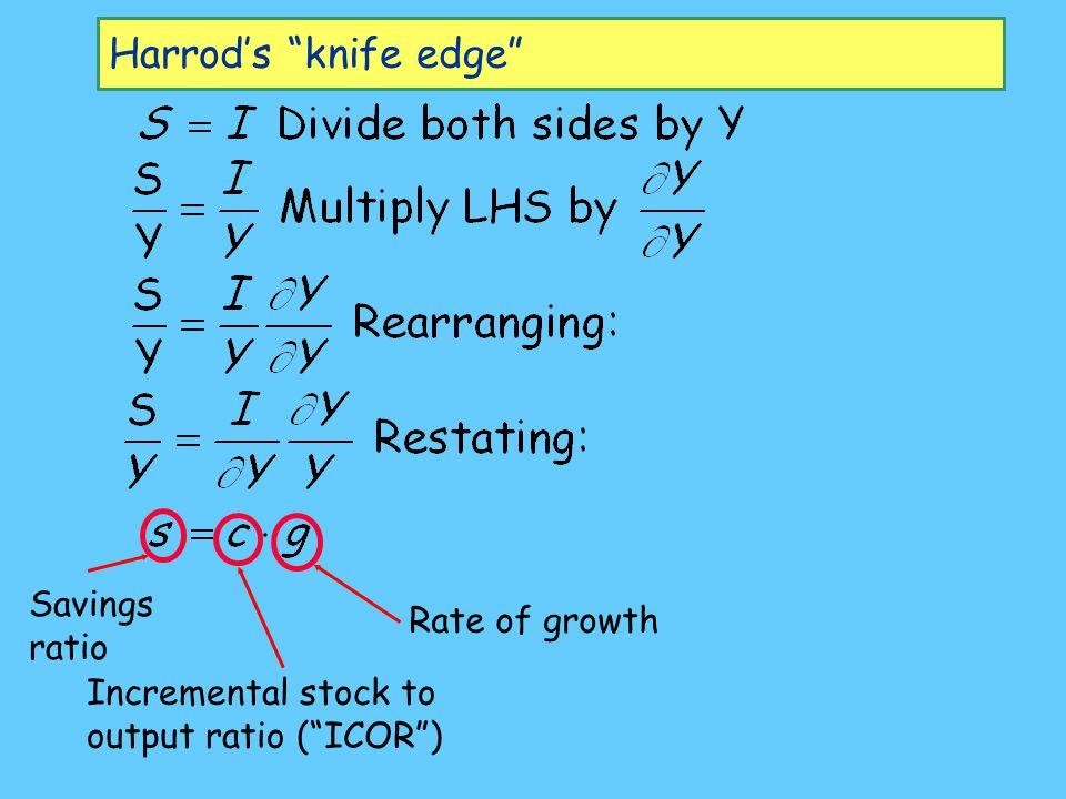 Harrod's knife edge Savings ratio Rate of growth
