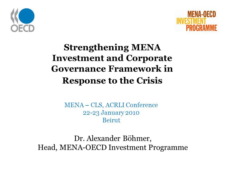 Dr. Alexander Böhmer, Head, MENA-OECD Investment Programme