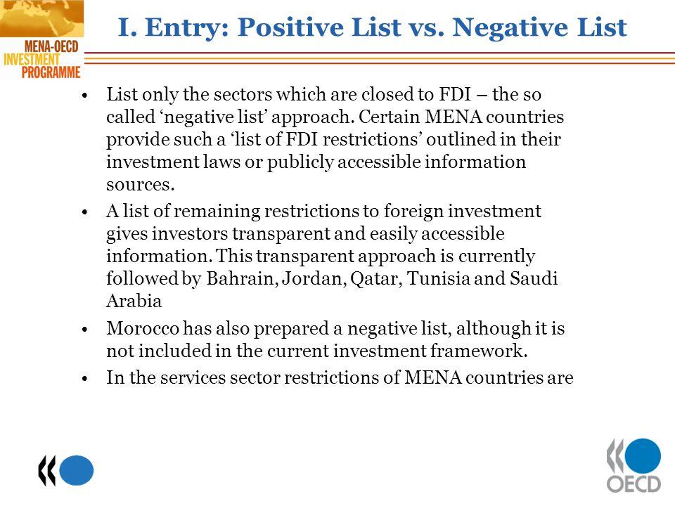 I. Entry: Positive List vs. Negative List