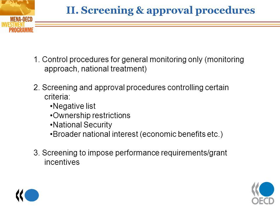 II. Screening & approval procedures
