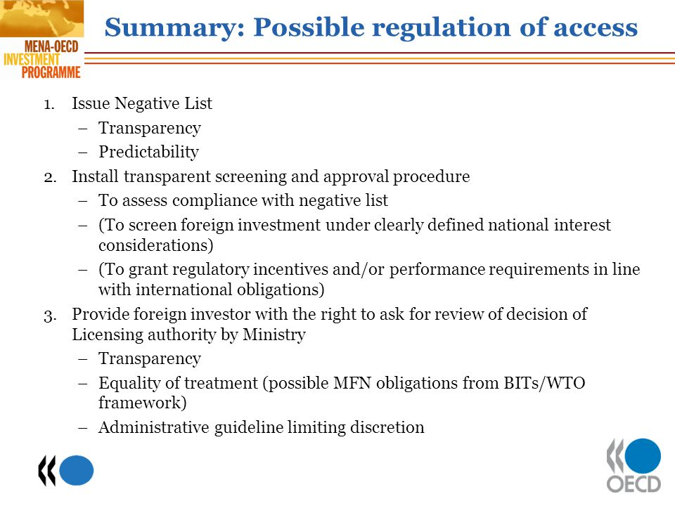Summary: Possible regulation of access