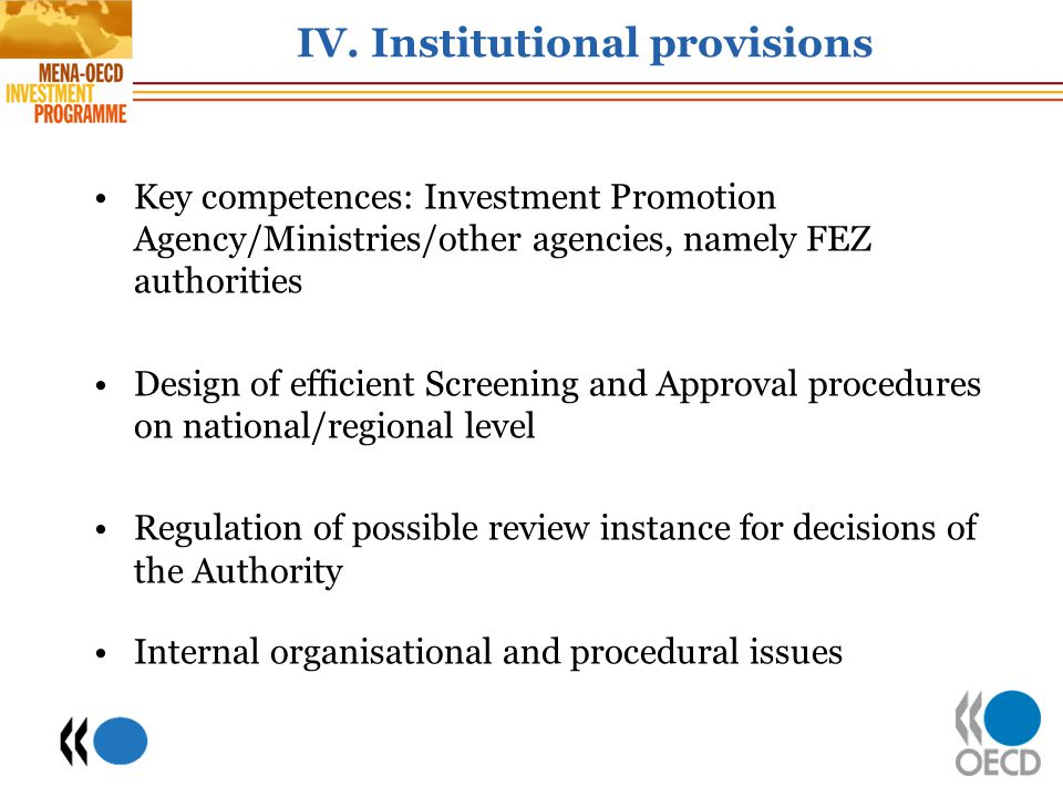 IV. Institutional provisions