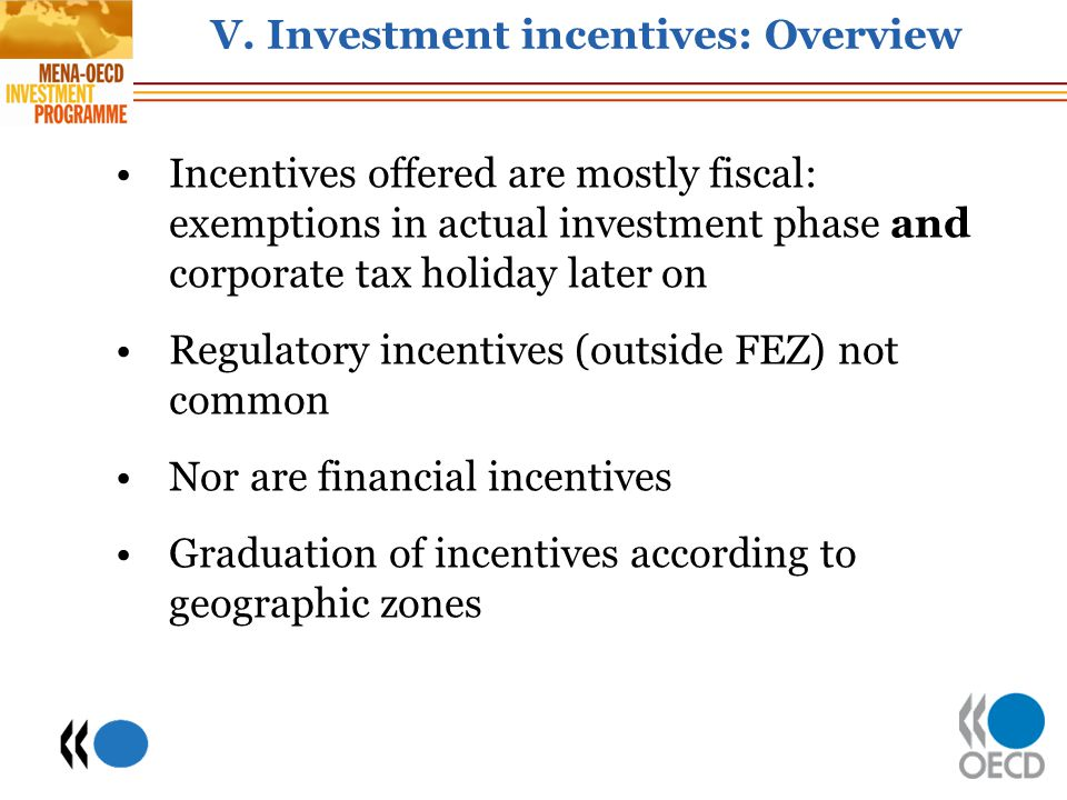 V. Investment incentives: Overview