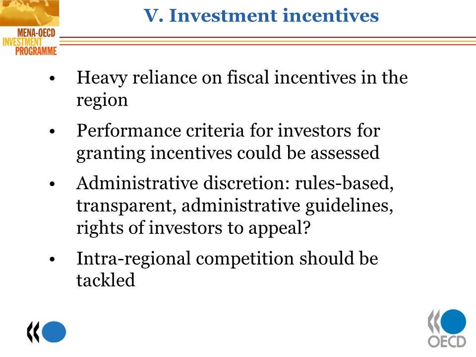 V. Investment incentives