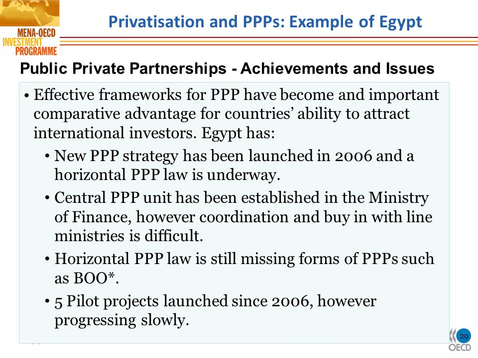 Privatisation and PPPs: Example of Egypt