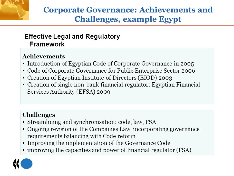 Corporate Governance: Achievements and Challenges, example Egypt
