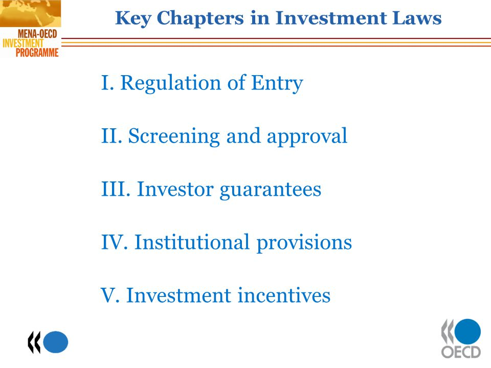 Key Chapters in Investment Laws