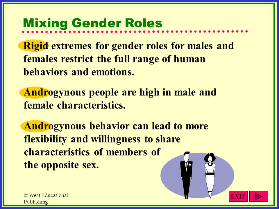 Mixing Gender Roles Rigid extremes for gender roles for males and females restrict the full range of human behaviors and emotions.