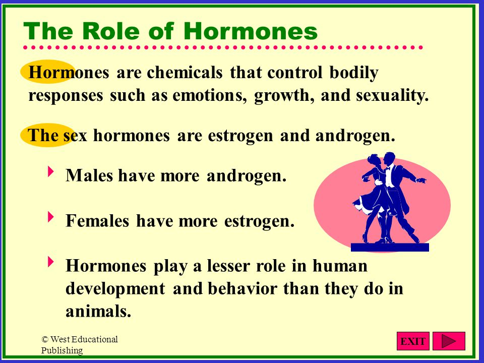 The Role of Hormones Hormones are chemicals that control bodily responses such as emotions, growth, and sexuality.