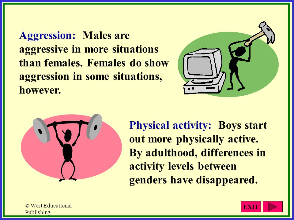 Aggression: Males are aggressive in more situations than females