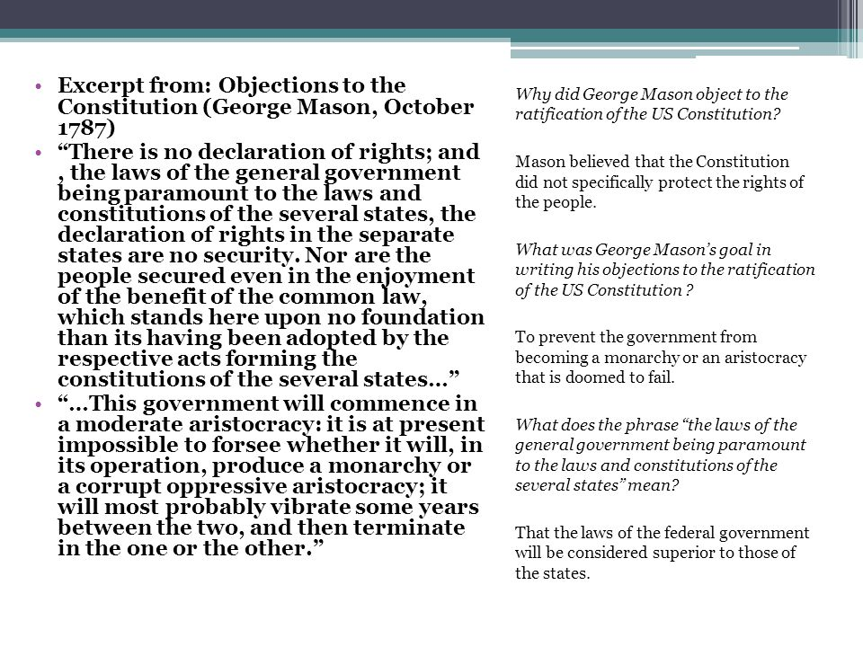 Excerpt from: Objections to the Constitution (George Mason, October 1787)