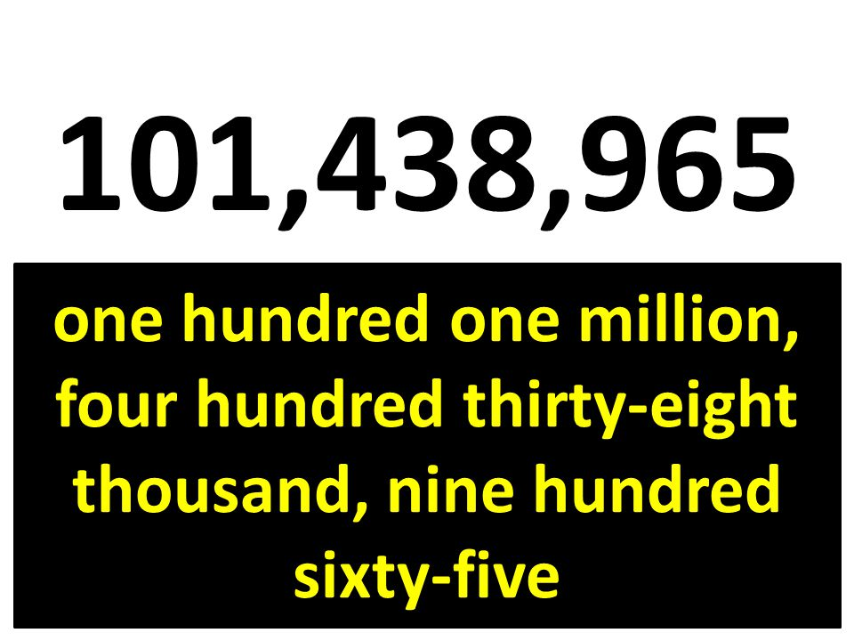 101,438,965 one hundred one million, four hundred thirty-eight thousand, nine hundred sixty-five