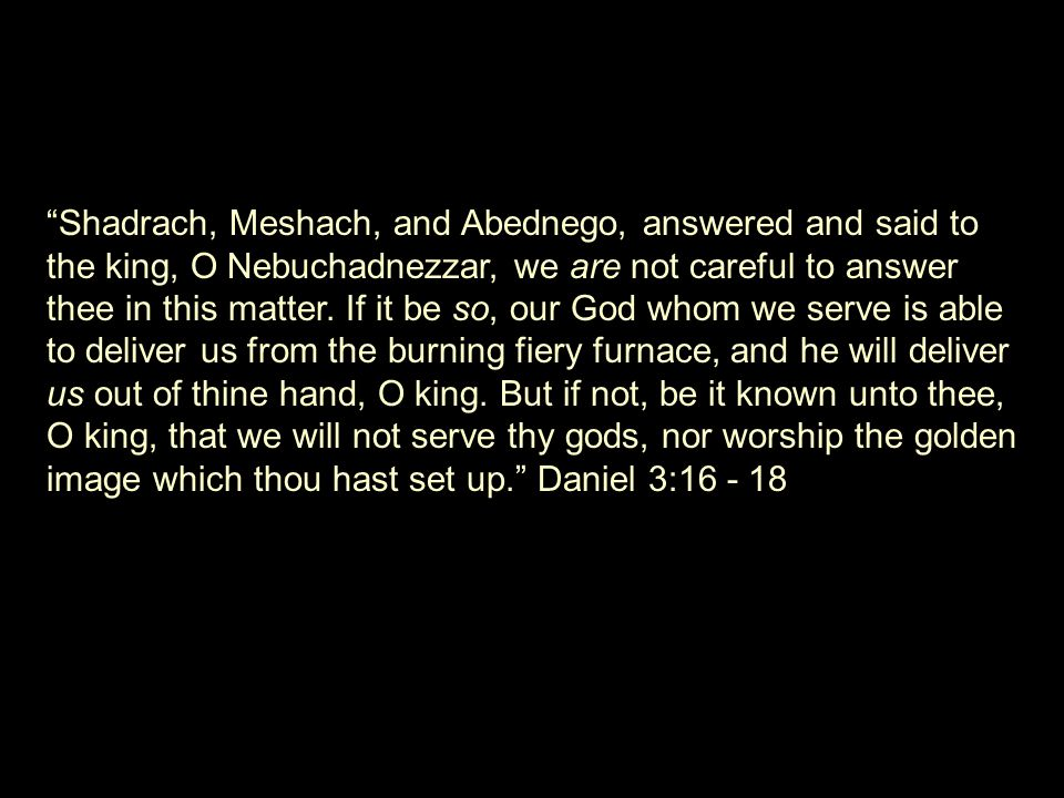 Shadrach, Meshach, and Abednego, answered and said to the king, O Nebuchadnezzar, we are not careful to answer thee in this matter.