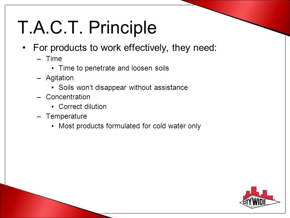 T.A.C.T. Principle For products to work effectively, they need: Time