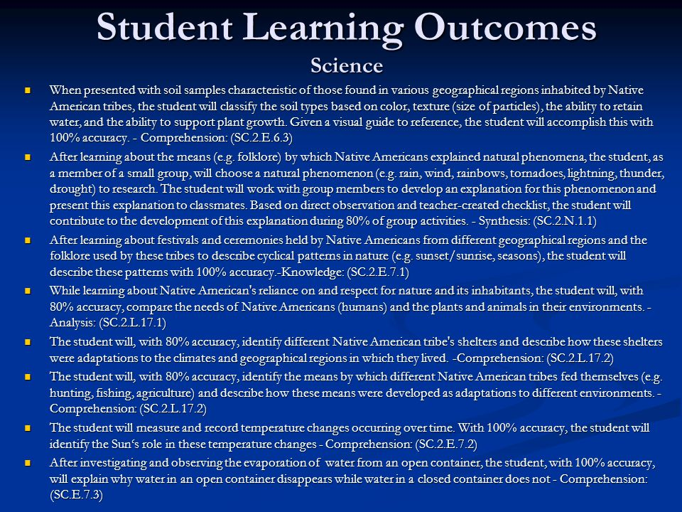 Student Learning Outcomes Science
