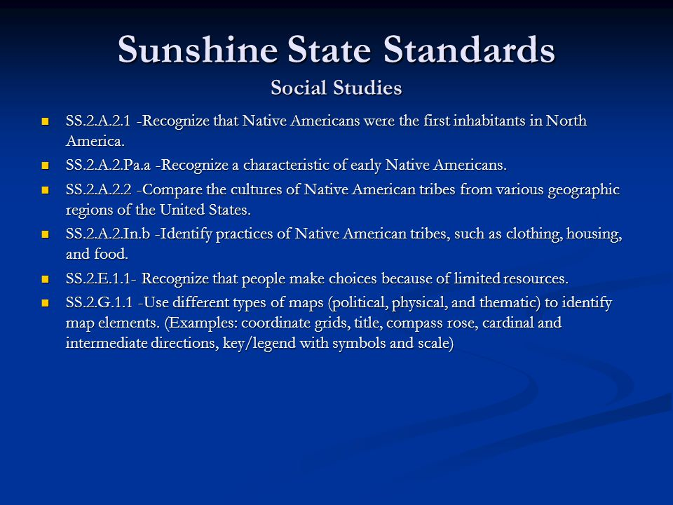 Sunshine State Standards Social Studies