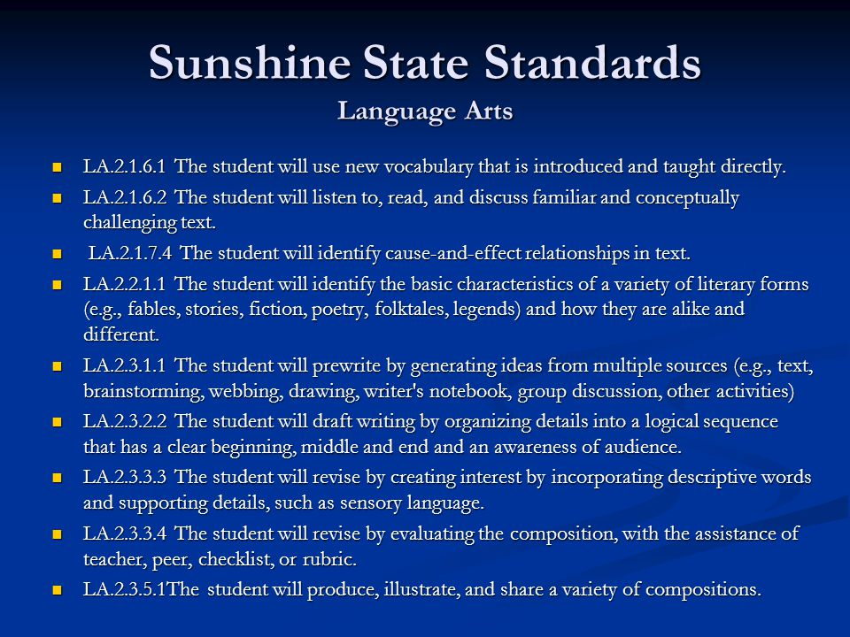 Sunshine State Standards Language Arts