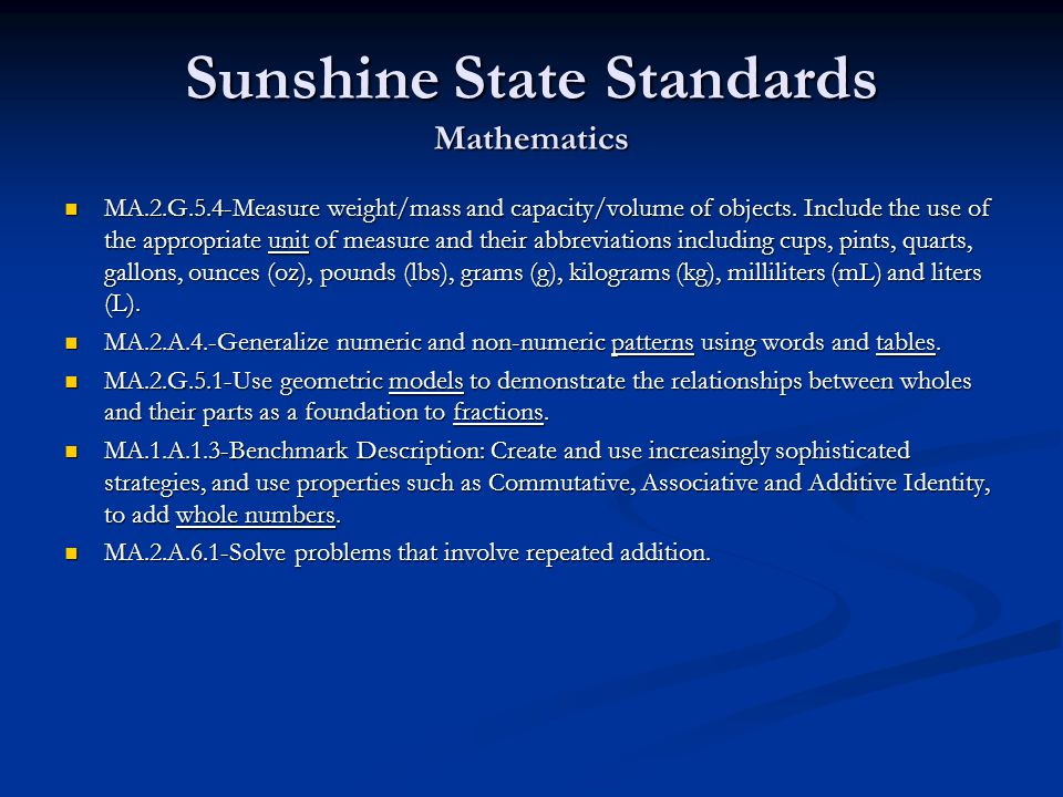 Sunshine State Standards Mathematics