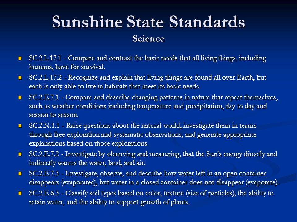 Sunshine State Standards Science