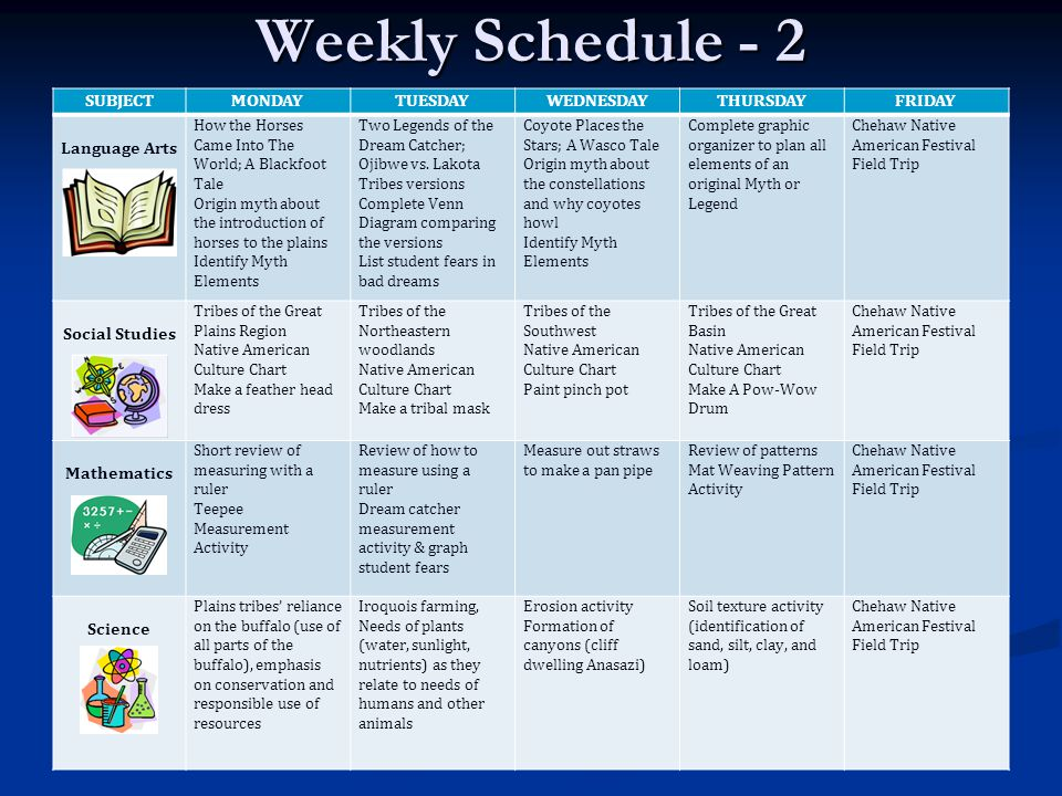 Weekly Schedule - 2 SUBJECT MONDAY TUESDAY WEDNESDAY THURSDAY FRIDAY