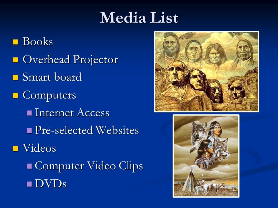 Media List Books Overhead Projector Smart board Computers