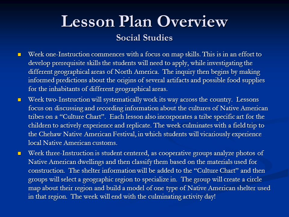 Lesson Plan Overview Social Studies