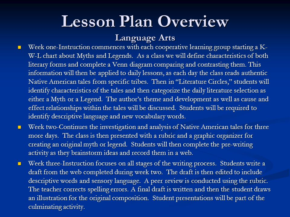 Lesson Plan Overview Language Arts