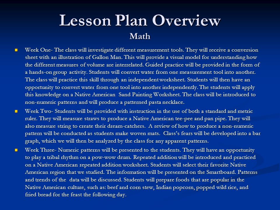 Lesson Plan Overview Math