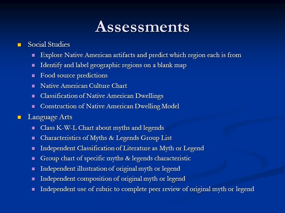Assessments Social Studies Language Arts