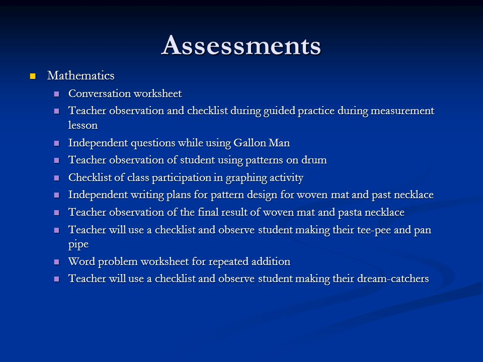 Assessments Mathematics Conversation worksheet