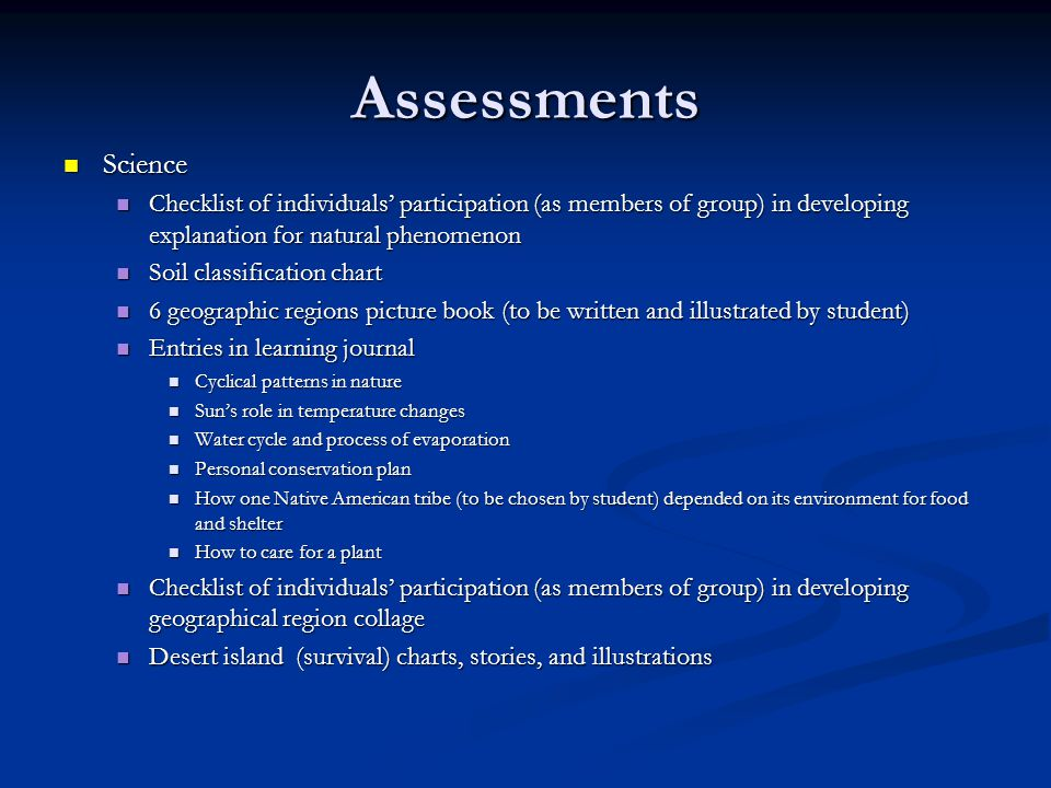 Assessments Science. Checklist of individuals' participation (as members of group) in developing explanation for natural phenomenon.