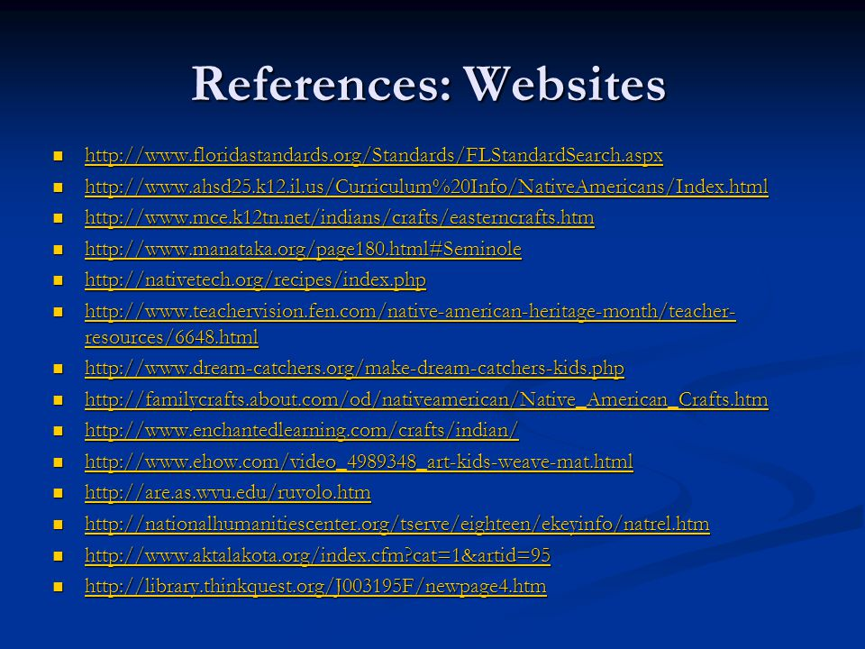 References: Websites http://www.floridastandards.org/Standards/FLStandardSearch.aspx.