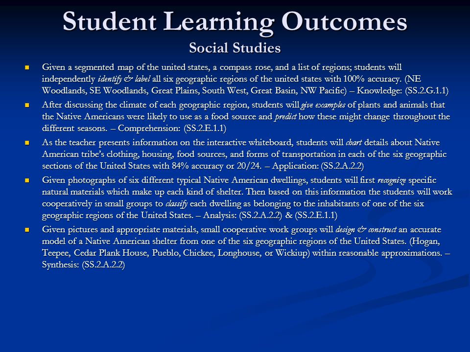 Student Learning Outcomes Social Studies