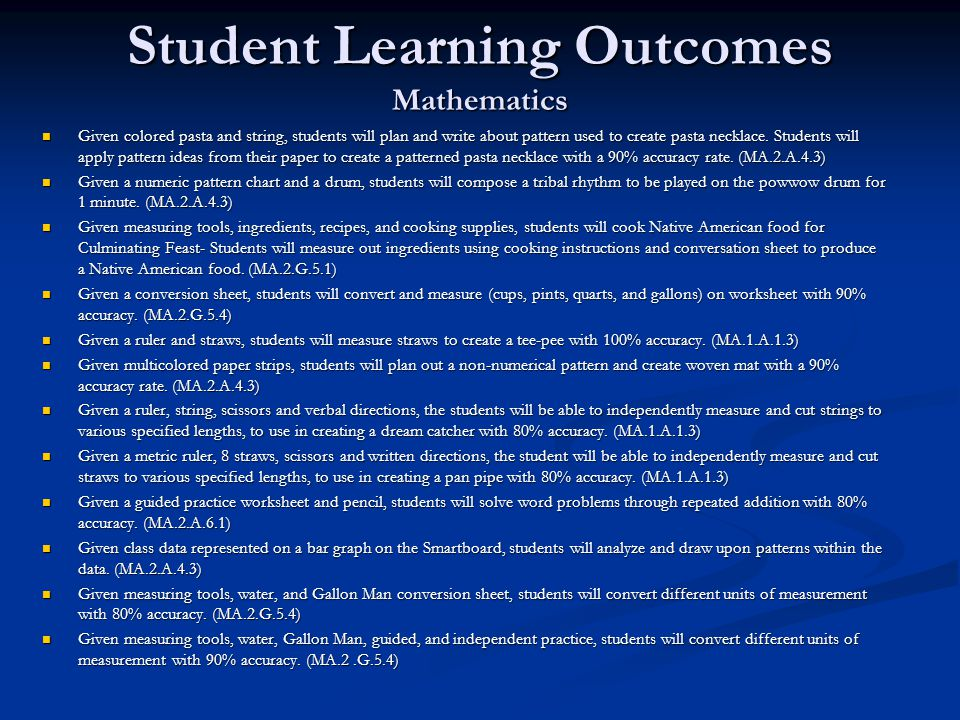Student Learning Outcomes Mathematics