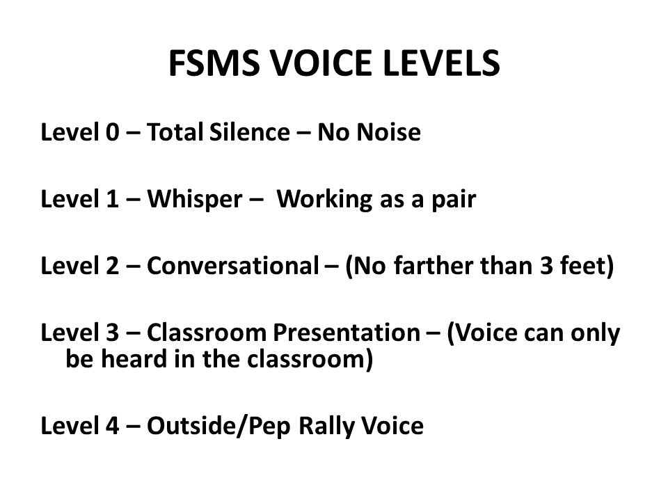 FSMS VOICE LEVELS