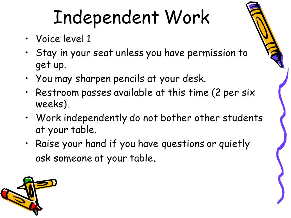 Independent Work Voice level 1