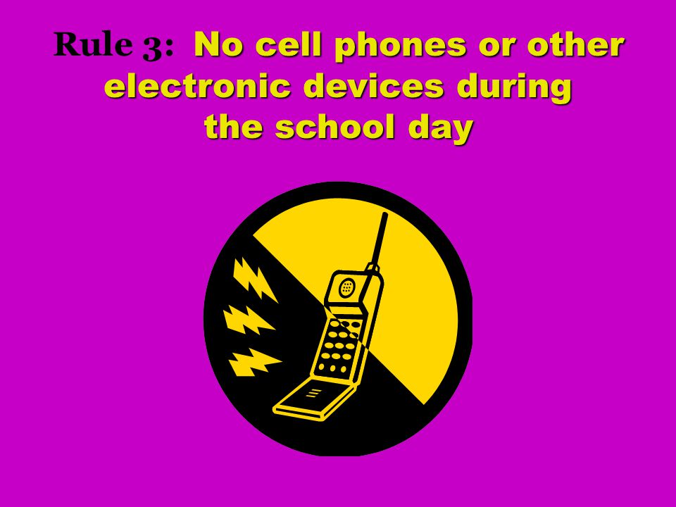 Rule 3: No cell phones or other electronic devices during the school day