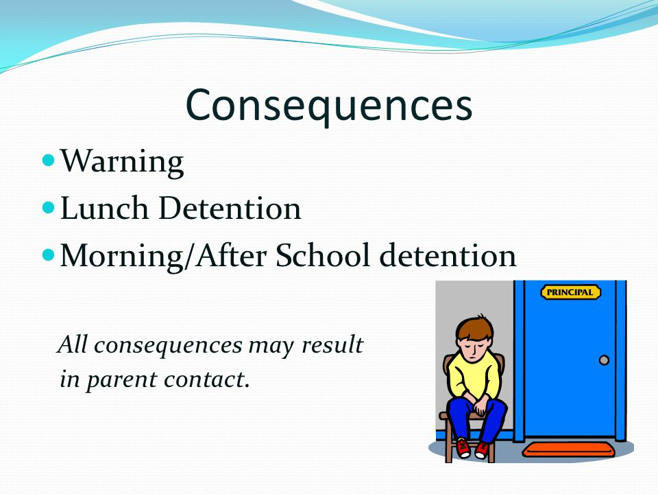 Consequences Warning Lunch Detention Morning/After School detention