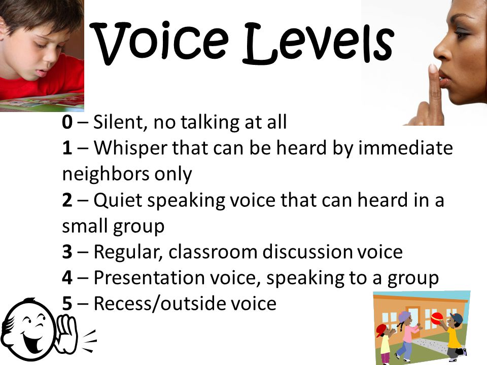 Voice Levels 0 – Silent, no talking at all