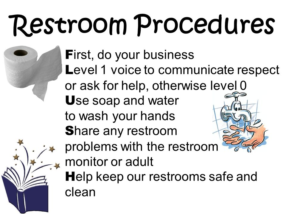 Restroom Procedures First, do your business