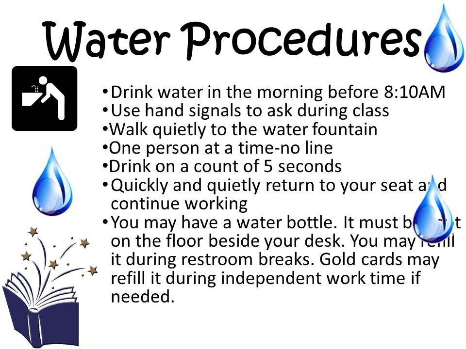 Water Procedures Drink water in the morning before 8:10AM
