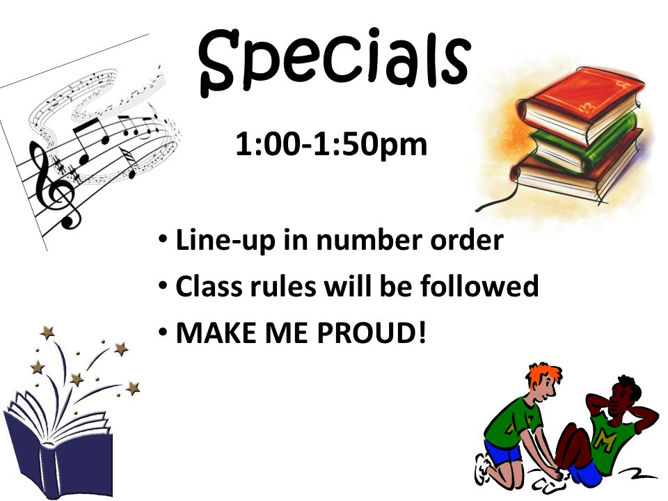 Specials 1:00-1:50pm Line-up in number order
