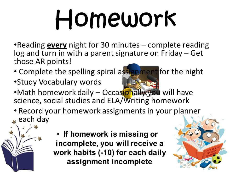 Homework Reading every night for 30 minutes – complete reading log and turn in with a parent signature on Friday – Get those AR points!