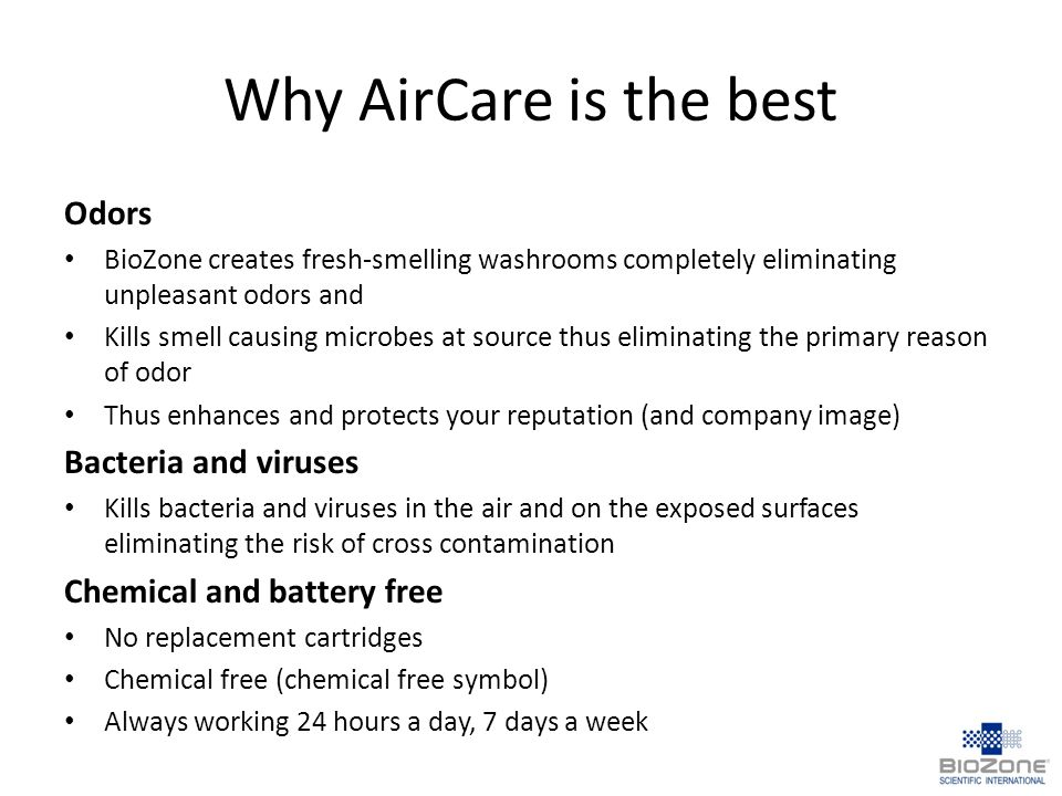 Why AirCare is the best Odors Bacteria and viruses